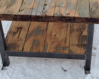 Reclaimed Wood Coffee Table with bottom shelf
