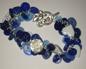 Blue, White & Pearl Heart Button Charm Bracelet - Upcycled OOAK Valentines Gift