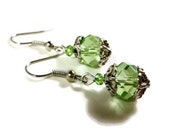 Peridot Crystal Earrings, Green Beaded Earrings, Antique Silver Metal Earrings, Dangle Earrings, Bridesmaid Jewelry, Beadwork Earrings