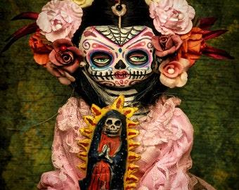 Beautiful Mortal Dia De Los Muertos Doll Holding Artwork canon PRINT 383 Reproduction by Michael Brown