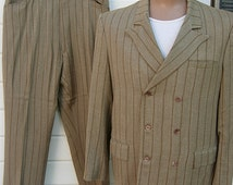 Incredible 1960s Designer Tan Pinstriped Mod Double Breasted Suit -- Size L / 42R