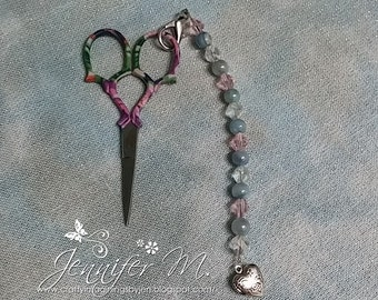 Pink with Blue Pearls Scissor FOB & Key Chain