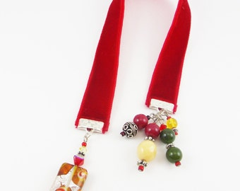 Red Velvet Ribbon Bookmark - Beaded Bookmarks - Accessories Gits for Readers