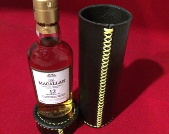 Leather Tube carrying case, multipurpose, handstitch, handmade - FREE Scotch whisky upon purchase