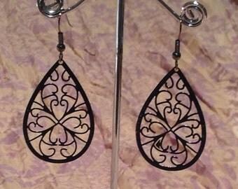 Black drop lace filigree earrings