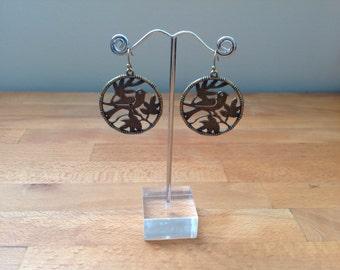 antique bronze metal birds in tree round charm pendsnt earrings
