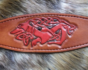 Greyhound collar with Celtic hound tooled motif