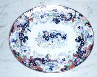 Antique Polychrome Pottery Service Platter  - ''Corey  Hill''  England– circa 1870-80