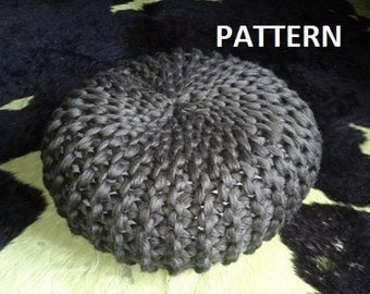 Knitted Ribbing Patterns : Popular items for knitted pouf on Etsy