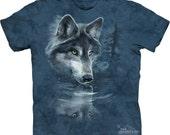 children's t-shirt, wolf reflection ,multicolored, stonewashed, preshrunk cotton size xl