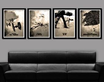 Star Wars Inspired Minimalist Movie Poster Set 13 X 19 Home Decor Sepia
