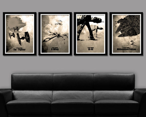 Force Inspired Minimalist Movie Poster Set Home Decor Sepia
