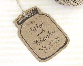 ... mason jar tags - Wedding favor tags - Wedding gift tags - Mason jar