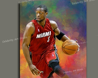 """Dwayne Wade NBA Heat Canvas Art W Gallery Wrap Ready To Hang Up To Size 36X44X1.5"""""""