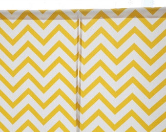 """Yellow Chevron Cotton Curtain Cafe Curtain Or Valance. One Panel 55""""W. Made to Order. Custom Size Available. 100% Cotton Duck Zigzag Print"""