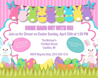 Bunnies Easter Invitation - Bunnies Easter Party Invitation, Easter Party Printables