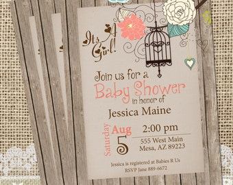 Rustic, Baby Shower Invitation, Invite, Birdcage, Shabby, Printable, Customize, 5x7