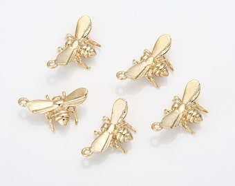 Fly Pendant Polished Gold -Plated - 2 Pieces [AA0051-PG]