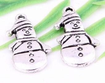"10 SNOWMAN, snowmen, frosty snowman, winter, Christmas,  tibetan silver charms approx.1/2"" x 1"" U.S. Shipper Quick"