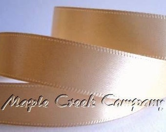 "5 yards of Toffee Double Face Satin Ribbon, 5 Widths Available: 1 1/2"", 7/8"", 5/8"", 3/8"", 1/4"""
