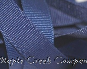 "5 yards Navy Blue Grosgrain Ribbon, 4 Widths Available: 1 1/2"", 7/8"", 5/8"", 3/8"""