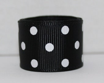 "1-1/2"" Black and White Polka Dot Grosgrain Ribbon 1-1/2"" x 1 yard"