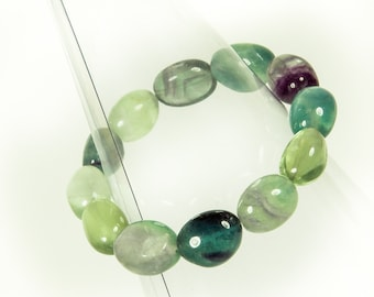 Designer Rainbow Fluorite Gemstone Stretch Bracelet Available as Stretch or With Clasp.