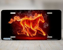 "464-""Flaming Mustang""-Horse License Plate Car Auto Novelty Front Tag Car License Plate on Metal"