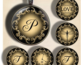 Franklin Scroll- Initials and Images - One Inch Round Digital Collage Sheet for Pendants, Magnets, Bottle Caps, Paper Crafts