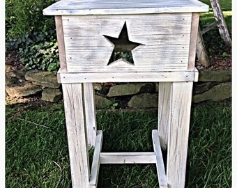 Primitive side table with distressed finish