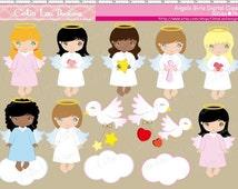 Cute Angel Baptism Clipart,  Cute Angels Girls,  Baptism clipart,  Baby Angels,  Girl angel clip art/ INSTANT DOWNLOAD (CG005)