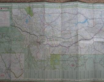 1957 Montana Green T Texaco Map - Back has Butte, Billings, Helena, Great Falls, Yellowstone Park, Southern Alberta Canada, Gousha Map -
