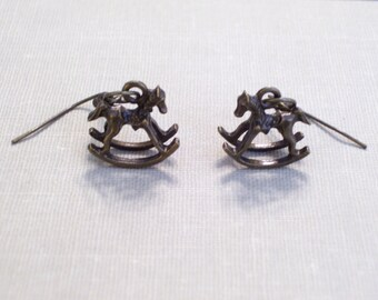 Antiqued Brass Rocking Horse Earrings, Whimsical 3D Bronze Horses, Animal Jewelry