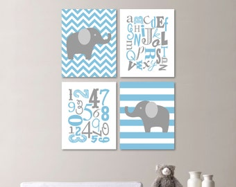 Baby Boy Nursery Art Print - Elephant Nursery Prints - Alphabet Nursery Prints - Nursery Decor - Blue Gray - You Pick the Size (NS-484)