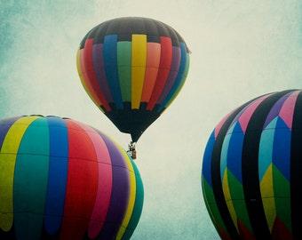 Vintage balloon photograph fine art print teal sky hot air balloon wall art