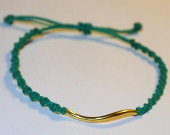 SALE NOW 20% OFF Turquoise Hemp Bracelet with Gold Twist Tube