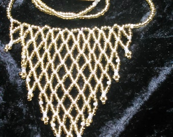 Gold Net Seed Bead Necklace