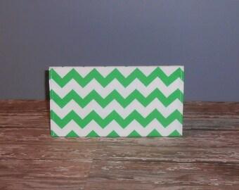Checkbook Cover - Green Chevron