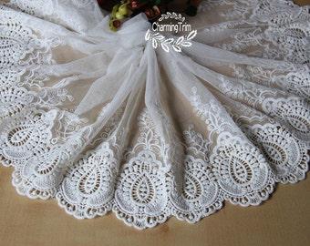 White Venic Lace , Floral Lolita Lace,Mesh Lace,Embroidery Lace Trim 7.8'' wide. E1518