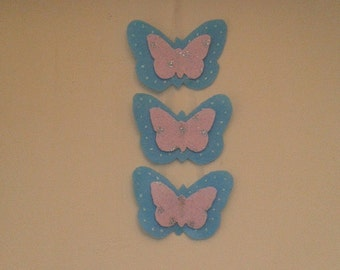wall hanging for nursery or playroom with three butterflies. other colours can be made to order.