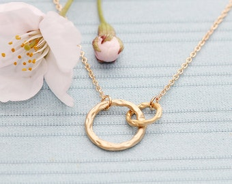 Gold Plated, Simple Double O Link Charm, Color is Your Choice, Necklace
