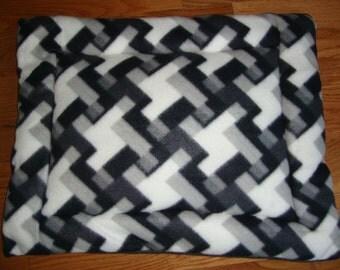 Grey White Black Stripes Puffy Pet Bed