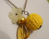 Yellow Necklace With Knitted Bead