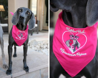 Embroidered Dog Bandanas to Support Tickled Pink Weimaraner Rescue