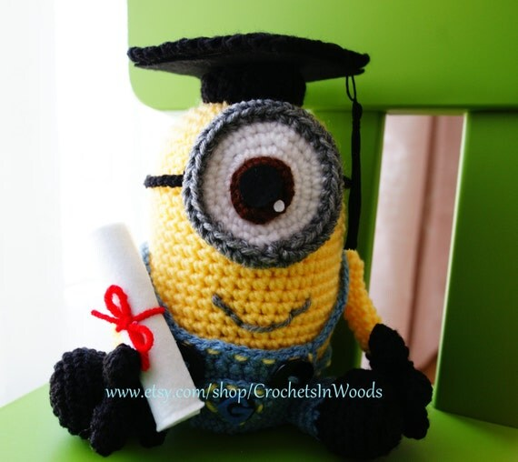 Amigurumi Minion Etsy : Crochet Amigurumi Plush Doll Minion CarlGraduation Gift w