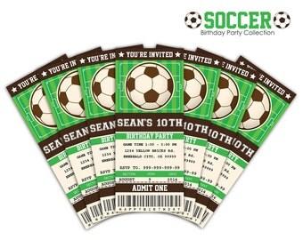 Soccer Ticket Invitation Printable - Instant Download Editable PDF