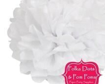 1 x 20cm WHITE Tissue Paper POM POM / Birthday Decoration Ideas and Supplies / Pompom / Paper Flower / Wedding / Baby Shower