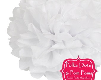 1 x 20cm WHITE Tissue Paper POM POM / Birthday Decoration Ideas and Supplies / Pompom / Paper Flower / Wedding / Baby Shower / New Years Eve