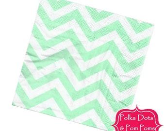 20 LIGHT Pastel GREEN Paper Napkins / Serviettes / 3ply / Retro Kids Party Supplies / Wedding / Baby Shower