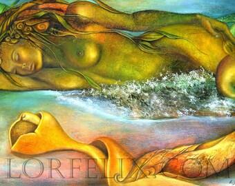 "Mermaid art, goddess print, Mermaid print, Mermaid Sleeping, Surreal Mermaid with Sea shell Tail, Goddess art print,  ""Sea of Dreams"""